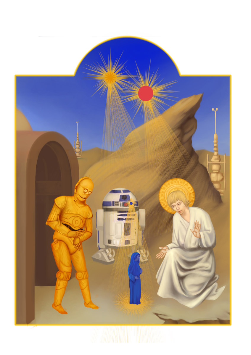 star wars icons luke, leah, and c3po